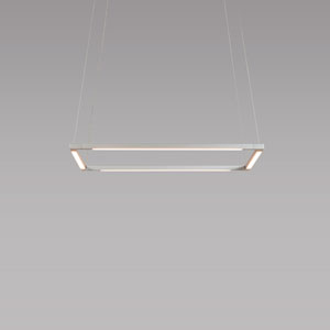 Z-Bar Pendant Silver 18-Inch LED Damp Rated Square Pendant