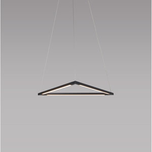Z-Bar Pendant Matte Black 18-Inch LED Damp Rated Triangle Pendant