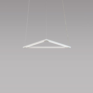 Z-Bar Pendant Matte White 18-Inch LED Damp Rated Triangle Pendant