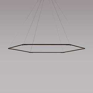 Z-Bar Pendant Matte Black 52-Inch LED Damp Rated Honeycomb Pendant
