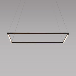 Z-Bar Pendant Matte Black 26-Inch LED Damp Rated Square Pendant