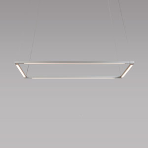 Z-Bar Pendant Silver 26-Inch LED Damp Rated Square Pendant