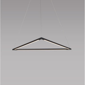 Z-Bar Pendant Matte Black 26-Inch LED Damp Rated Triangle Pendant