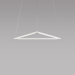 Z-Bar Pendant Matte White 26-Inch LED Damp Rated Triangle Pendant