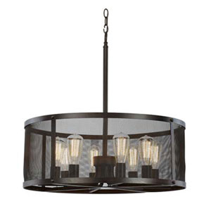 Mesh Oil Rubbed Bronze 24-Inch Eight-Light Pendant