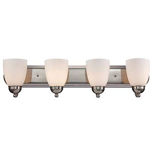 Clayton Brushed Nickel 30-Inch Four-Light Bath Vanity