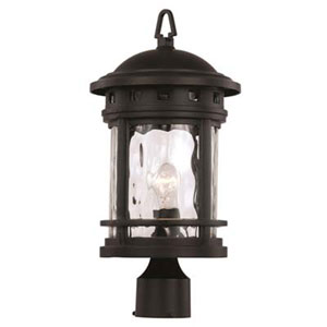 Boardwalk Black Nine-Inch One-Light Post Mount Lantern