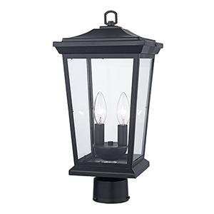 Turlock Black Two-Light Postmount Lantern