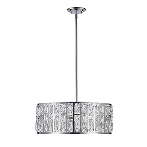 Vibrant Polished Chrome Five-Light Pendant