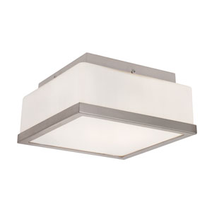 Brushed Nickel Opal Square 8-Inch Flush Mount with White Frosted Glass