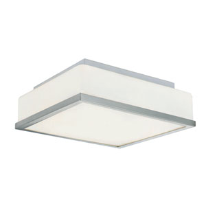 Brushed Nickel Opal Square 13-Inch Flush Mount with White Frosted Glass