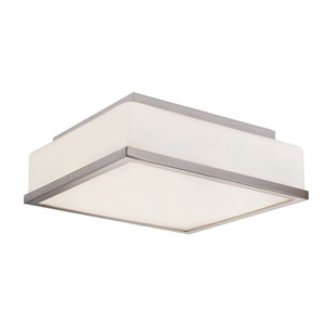 Polished Chrome Opal Square 13-Inch Flush Mount with White Frosted, Square Glass