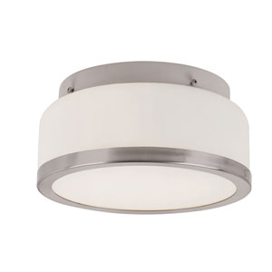 Brushed Nickel Round Opal 8-Inch Flush Mount with White Frosted, Round Glass