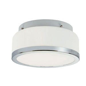 Polished Chrome Round Opal 8-Inch Flush Mount with White Frosted Glass