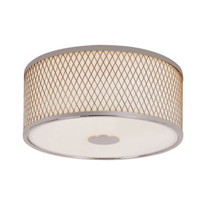 Diamond Grill Polished Chrome 12-Inch 2 Light Flush Mount with Acrylic White Frosted, Drum