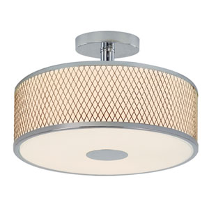 Diamond Grill Polished Chrome 16-Inch 3 Light Semi-Flush Mount with Acrylic White Frosted, Drum