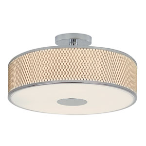 Diamond Grill Polished Chrome 20-Inch 4 Light Semi-Flush Mount with Acrylic White Frosted, Drum