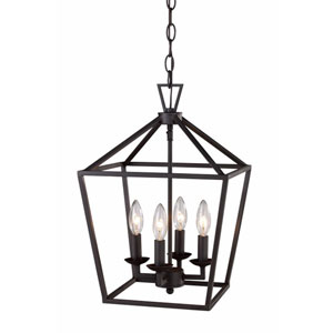 Rubbed Oil Bronze 13-Inch Four-Light Pendant