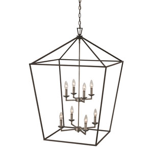 Lacey Polished Chrome and Black 26-Inch Eight-Light Pendant
