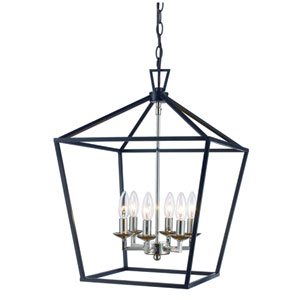 Lacey Polished Chrome and Black 16-Inch Six-Light Pendant