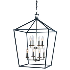 Lacey Polished Chrome and Black 19-Inch Eight-Light Pendant