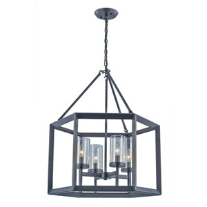 Circuit Rubbed Oil Bronze Four-Light Chandelier