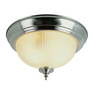 Easy Install 15 Inch Ribbed Three-Light Flush Mount Brushed Nickel/Frosted