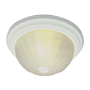 Classic 15 Inch Melon Three-Light Flush Mount -Antique White