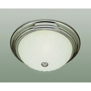 Classic 15 Inch Melon Three-Light Flush Mount Nickel