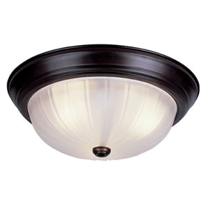 Classic 15 Inch Melon Three-Light Flush Mount -Rubbed Oil Bronze