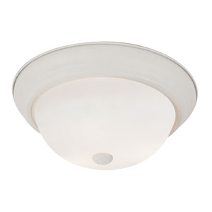 Antique White Button Frost 11-Inch Flush Mount with White Frosted Glass