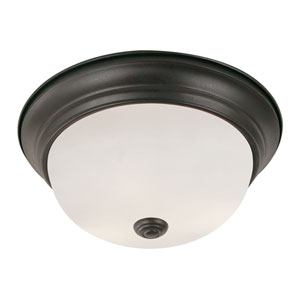 Rubbed Oil Bronze Button Frost 13-Inch Flush Mount with White Frosted Glass