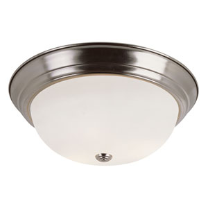 Brushed Nickel Button Frost 15-Inch Flush Mount with White Frosted Glass