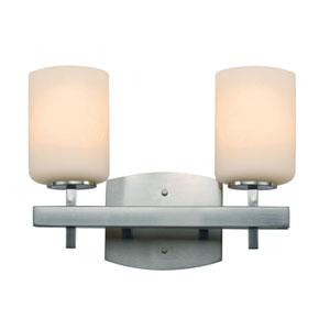 Brushed Nickel Two-Light 10-Inch High Bath Bar