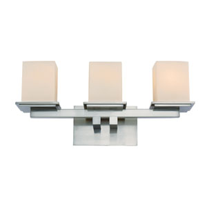 Brushed Nickel Three-Light Bath Bar with Cube Frosted Glass
