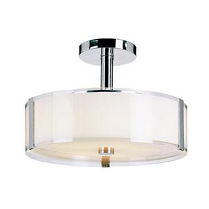 Five-Light Semi-Flush-Mount -Polished Chrome With Opal/Clear Glass