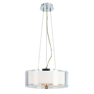 Opal Chrome 14-Inch Adjustable Three Light Height Pendant with Double Glass