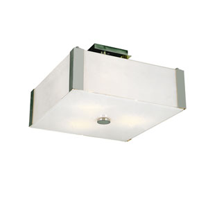 Metro Square Three-Light Semi-Flushmount -Polished Chrome