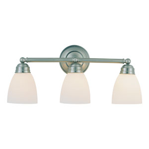 Rubbed Oil Bronze Traditional Frosted Three Light Bath Fixture