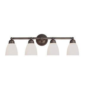 Traditional Frosted Four-Light Bath Light Fixture In Bronze