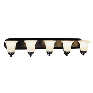 Morgan House Polished Chrome Five Light Bath Fixture Up with White Marbleized