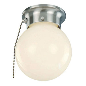 Idlewyld Brushed Nickel Pull Chain 6-Inch Flush Mount with Opal Globe Glass