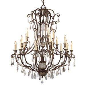 Crystal Flair Twenty-One Light Crystal Chandelier with Crystal