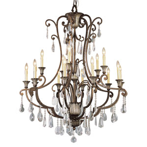 Crystal Flair Fifteen-Light Crystal Chandelier with Crystal