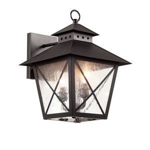 Black Chimney Vented 15-Inch Wall Lantern with Clear Seeded, Square, Cross Bar