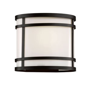 Cityscape Black Oval 7-Inch Wall Sconce with White Frosted Glass