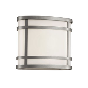 Cityscape Silver Oval 7-Inch Wall Sconce with Frosted Glass