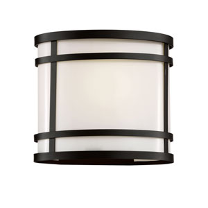Cityscape Black Oval 8-Inch Wall Sconce with Frosted Glass