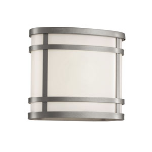 Cityscape Silver Oval 8-Inch Wall Sconce with Frosted Glass