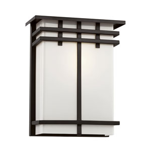 Cityscape Black Square 12-Inch Wall Sconce with Frosted Glass